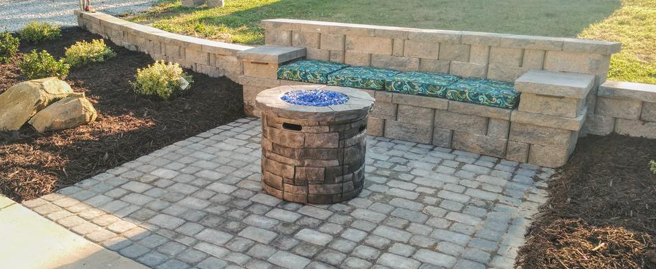 paver patio firepit bench retaining wall